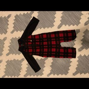 Red and black baby boy romper fleece